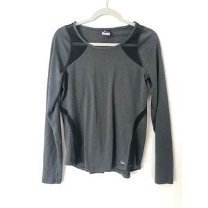 Nike Dri Fit Gray Long Sleeve With Black Mesh